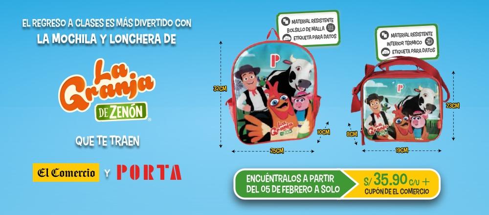 MOCHILA Y LONCHERA LA GRANJA DE ZENÓN - CLUB DE SUSCRIPTORES - Club De Suscriptores El Comercio Perú.